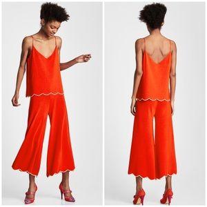 NEW Zara Knit Scalloped Hem Culottes Pants